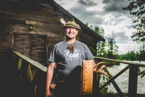 Wilderness Guide Teijo Haapakoski and his Drum in Kapeenkoski Rapid.