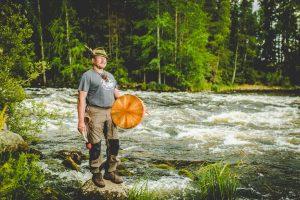 Wilderness Guide Teijo Haapakoski and his Drum by Kapeenkoski rapid.